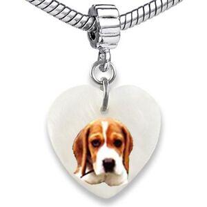 Beagle Dog Heart Dangle Mother Of Pearl European Bracelet Charm Bead EBS299