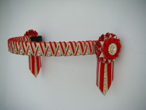 RED CREAM AND GOLD DELUXE CORNERSTONE BROWBAND VELVET SHOW BROWBAND 27.99