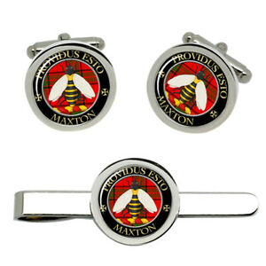 maxton-Scottish-Clan-Cufflinks-and-Tie-Clip-Set