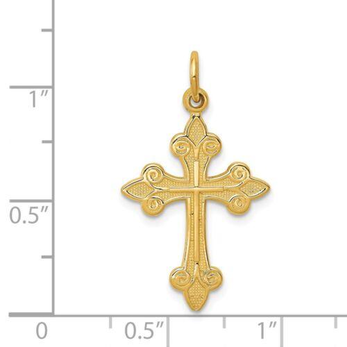 Details about  /14K Yellow Gold Solid Textured Fleur De Lis Cross Charm Pendant 1.18 Inch