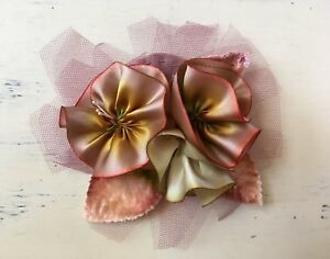 Hand dyed silk fabric flowers brooch corsage velvet leaves tulle image is loading hand dyed silk fabric flowers brooch corsage velvet mightylinksfo