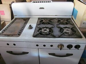 Gas Kitchen Stove White Double Oven