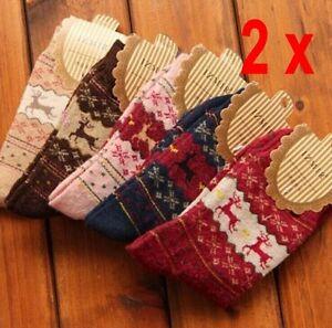 1-2x-Women-Winter-Socks-Christmas-Gift-Warm-Wool-Sock-Snowflake-Deer-Soft-lek
