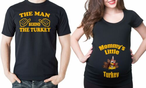 Thanksgiving Couple Maternity Turkey T-shirts Baby Announcement Tees Maternity
