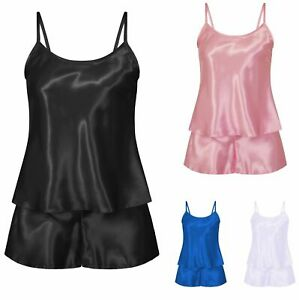 Satin-Shorts-Pjs-Set-Nightwear-Pjyama-Slip-Sleepwear-8-10-12-14-16-18-20-22-24