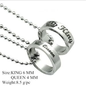 b17d61999d His and Hers Stainless Steel Queen Crown Couple Ring Women Men ...