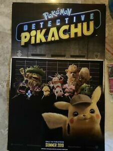 Pokemon-Detective-Pikachu-Double-Sided-Promo-Poster-GameStop-Exclusive-17x11-new