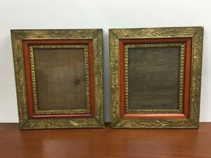 Matching-PAIR-Vintage-ANTIQUE-GILT-ORNATE-WOOD-PICTURE-FRAMES-GESSO-VICTORIAN