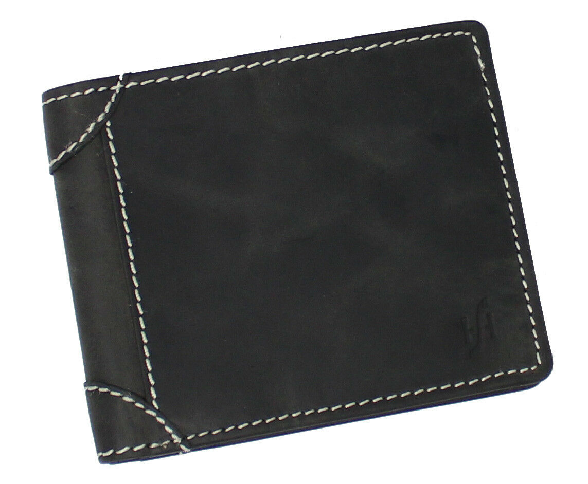 Mens Black Distressed Hunter Leather RFID Blocking Trifold Wallet