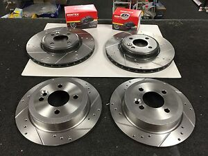 BMW MINI COOPER WORKS S MTEC Brakes Drilled Grooved Brake Discs Front Rear