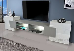 Image Is Loading Modern Large 230cm Tv Unit Stand Cabinet Gloss