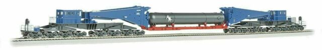 BACHMANN 80511 HO SCALE 380 TON SCHNABEL CAR BLUE & BLACK w RETORT LOAD & BLK TR
