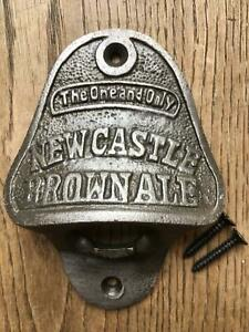 Vintage style cast iron Newcastle Brown Ale bottle opener beer wall mounted