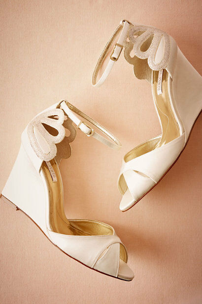 BHLDN 10 WEDGE SATION IVORY SHIMMER BRIDAL SATIN WEDDING DE MER  170 EUC