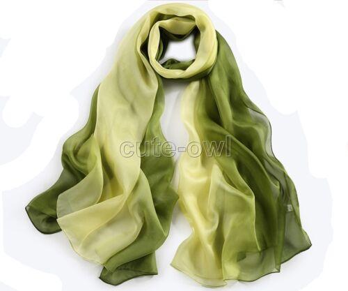 New Fashion Rainbow Color Long Soft Women Chiffon Scarf Wrap Shawl Stole Scarves