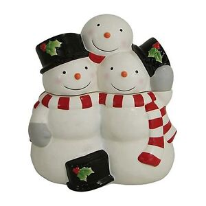 TREE LOT Cookie Jar Canister Snowman Family St Nicholas Square Hand ...