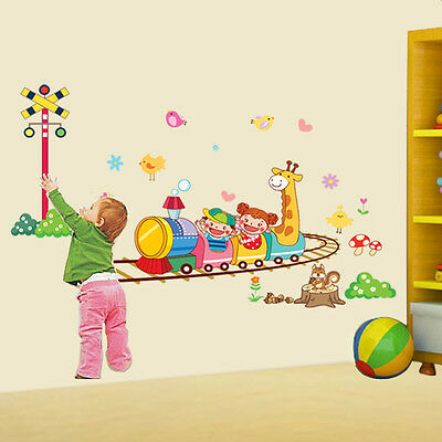 Catroon Animal Train Vinyl Removable Nursery Kids Home Decor Wall Stickers Decal