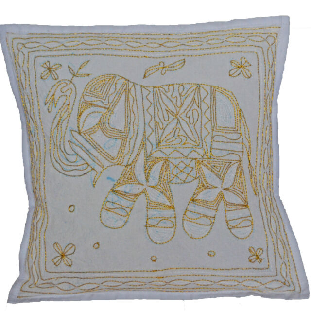 """Elephant Embroidered Aari Cushion Covers 40cm 16"""" WHITE Cotton INDIAN Clearance"""