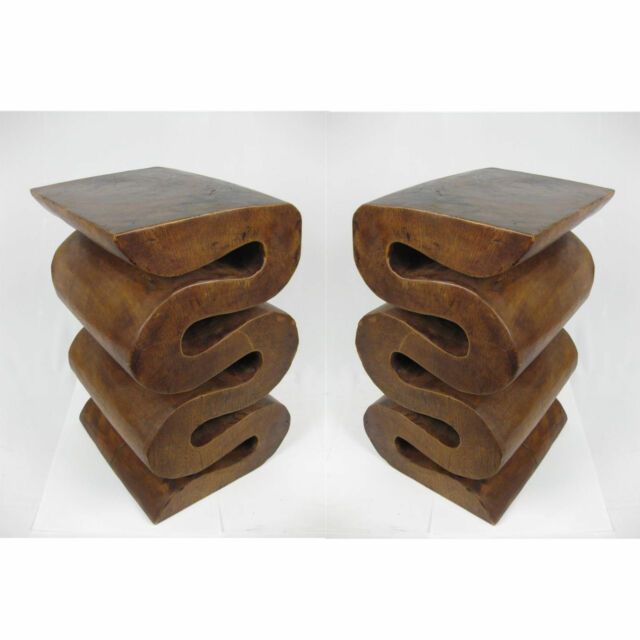 """PAIR/WAVE PLANT/LAMP 18"""" STANDS STOOLS SCULPTURES BEDSIDE/COFFEE TABLES NEW"""