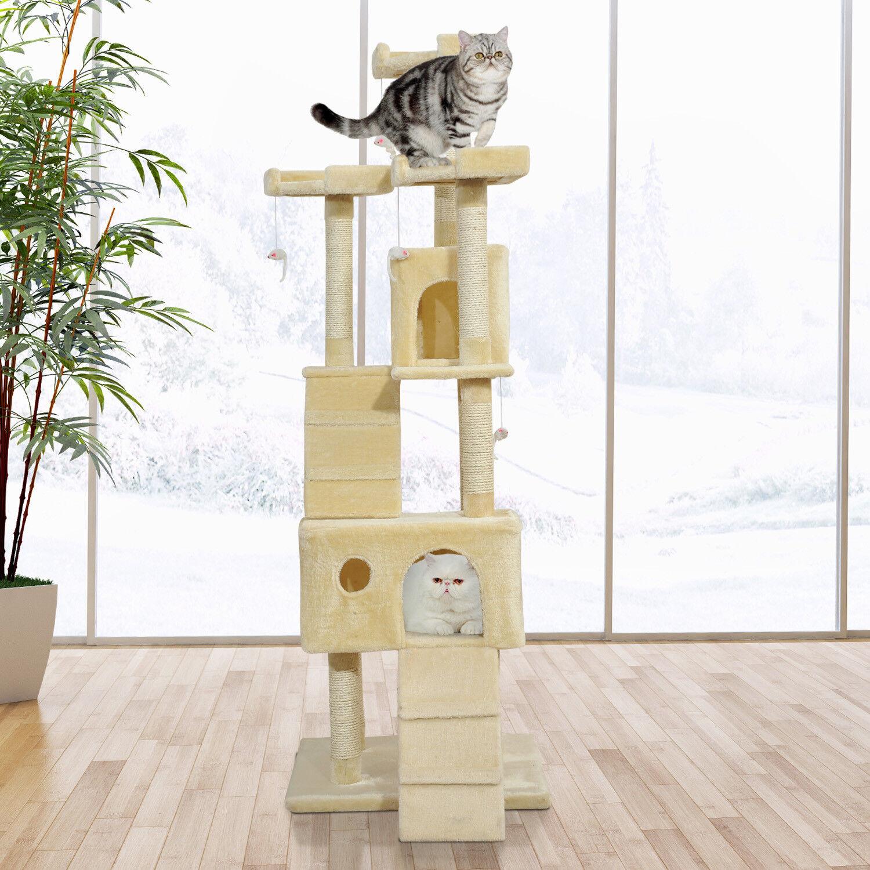 Pawhut CONDOMINIO mobili Maglie taglienti e piallanti POST PET gatto gattino letto Casa sull'albero Giocattolo Gioco