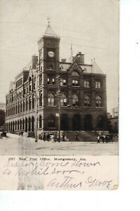 Montgomery-AL-New-Post-Office-c-1902-06-Postcard-Street-Horse-amp-Carriage