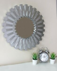 Large 50cm Sunburst Hanging Wall Mirror Silver Unique Decor Round Modern Living 5017403124047 Ebay