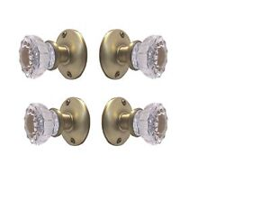 Two Fluted Crystal Glass FRENCH DOOR Dummy Knob sets for both sides of Two doors
