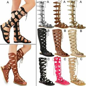 6c9e2ab9e Image is loading Womens-Ladies-Flat-Knee-High-Gladiator-Sandals-Strappy-