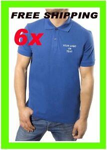 6 Polo Shirts Custom Embroidered Free Logo Business