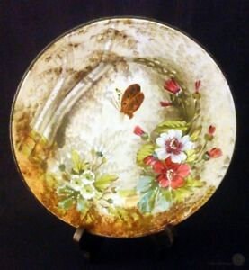 Ant-Limoges-B-amp-Cie-Hand-Painted-Metal-Rimmed-Plate-24-5cm-FREE-Delivery-UK