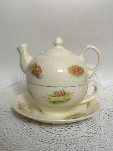 Aynsley-Teapot-Tea-Cup-Saucer-Stackable-Edwardian-Kitchen-Garden
