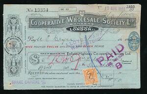 GB KG5 1933 CO OP PERFIN on FANCY RECEIPT ENFIELD HIGHWAY