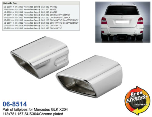 Exhaust tips tailpipe trims for Mercedes Benz GLK X204 S//Steel Chrome Plated