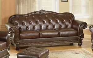 Details about Button Tufted Sofa Antique Style Genuine Top Grain Leather Couch Dark Brown Wood