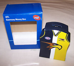 West-Coast-Eagles-AFL-Guernsey-Shape-Money-Box-16cm-Resin-Hand-Painted-New