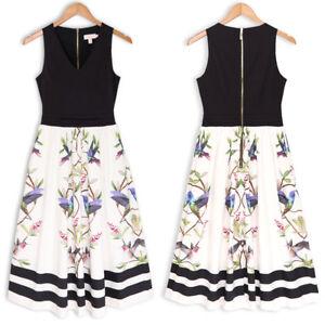 New-Ted-Baker-REICE-Highgrove-V-neck-Cotton-Midi-Dress-Black-White