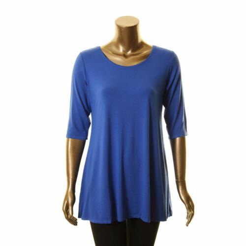 BEATRIX OST NEW Women/'s Cobalt Solid 3//4 Sleeve Tunic Shirt Top S TEDO