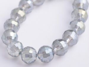 20pcs-10mm-96Facet-Round-Faceted-Charms-Crystal-Glass-Loose-Beads-Light-Grey