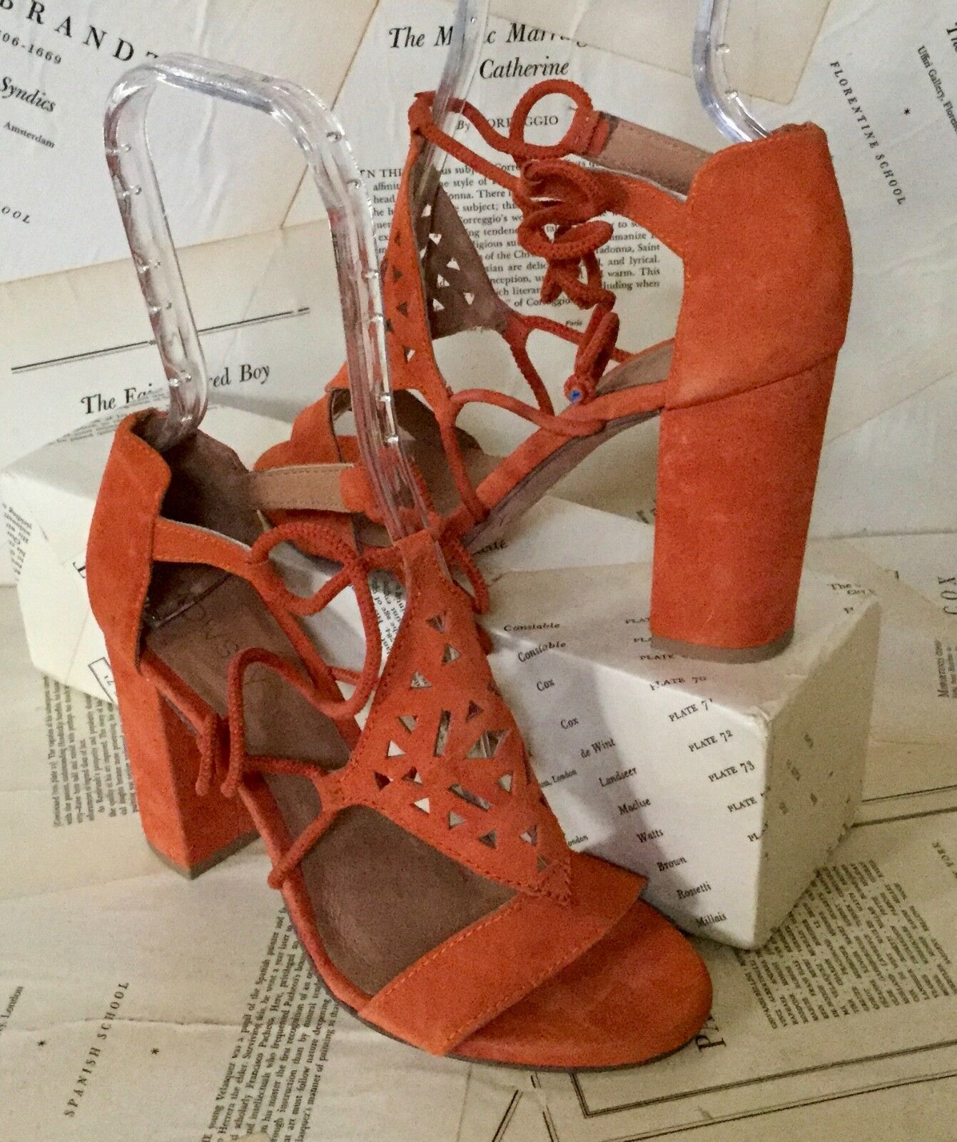 NEW Howsty Howsty Howsty arancia Suede Lasercut Heel Ankle Tie Sandals 37 6.5-7 5d032c