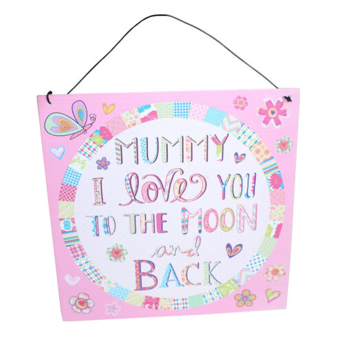 """Rose Metal Tin plaque Hanging Sign /""""Maman je t/'aime à la lune et retour/"""" Mère"""
