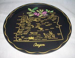 Vintage metal gold on black Oregon Caves National Monument souvenir round  tray