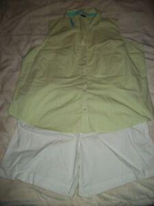 Lotto elastica e Camicia Plus Size verde in 2x scozzese senza maniche pantaloncini chiaro vita Xxl rrFCqT