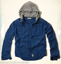 HOLLISTER Blue Button-Down Hooded Shirt Men's Medium NeW Northside Long Sleeve