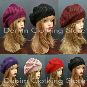 Image is loading Women-Summer-Spring-Winter-Crochet-Knit-Slouchy-Beanie- d15094ec1