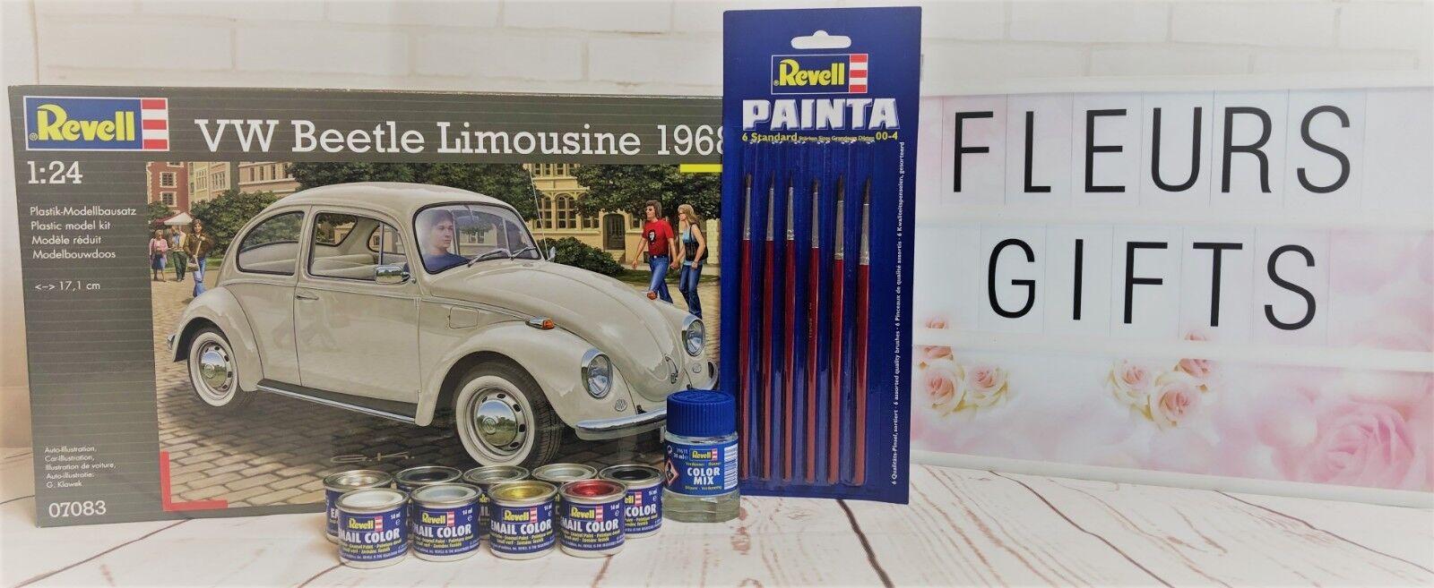 Revell Model VW Beetle Limousine 1968 Level 3 1 24 Car Model Kit 07083 Paints