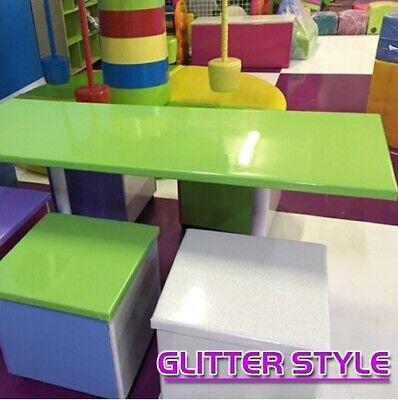 Aspirante Tavolo Doppio Glitter 71,5x194 H76 Cm Celeste Usato Evidente Effetto