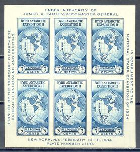 US-Stamp-L174-Scott-735-Mint-NH-No-Gum-As-Issued-Nice-Souvenir-Sheet