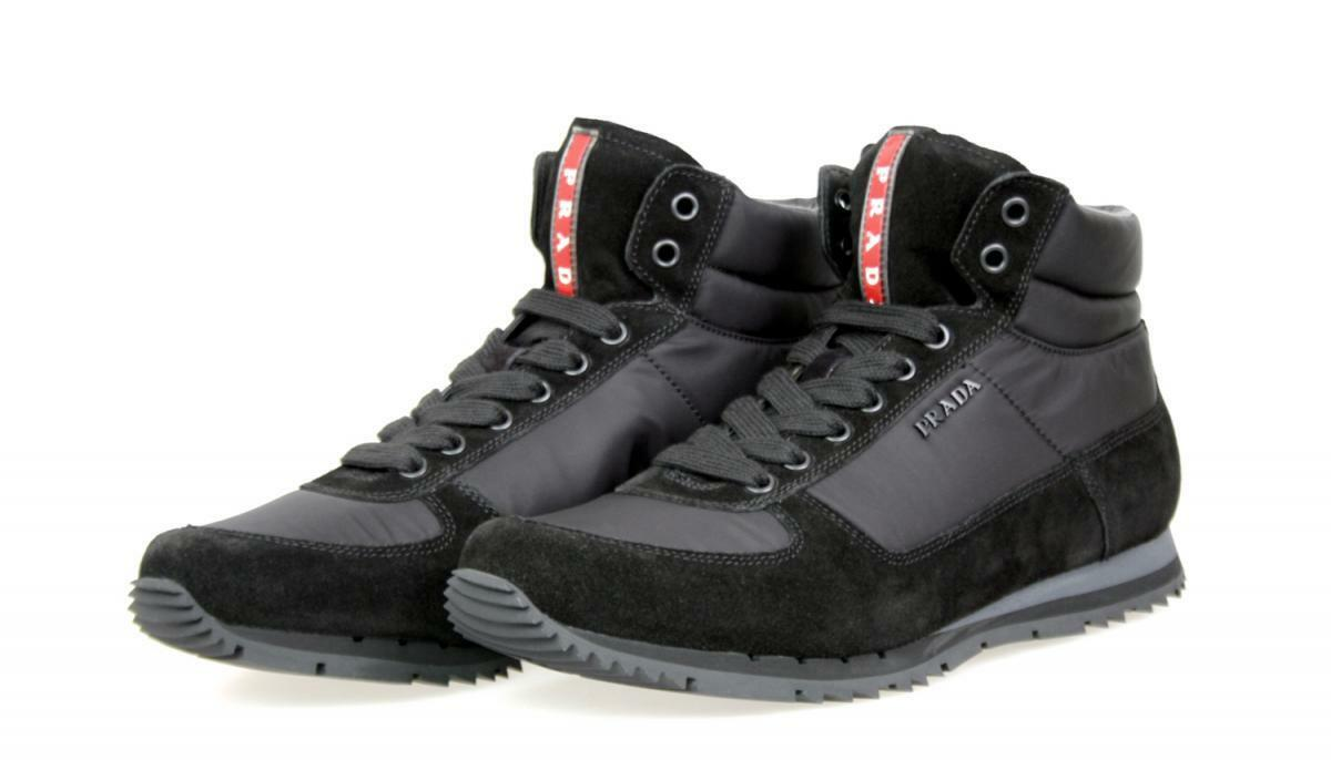 LUXUS PRADA HIGH TOP SNEAKER SCHUHE 4T2782 black NEU NEW 6 40 40,5