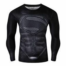 Men's Superman Marvel Comic Compression T-shirt Long Sleeve Jersey Top Size L