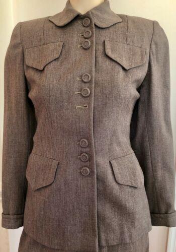 STYLISH VINTAGE 1940'S BROWN WOOL TWEED WOMEN'S 2
